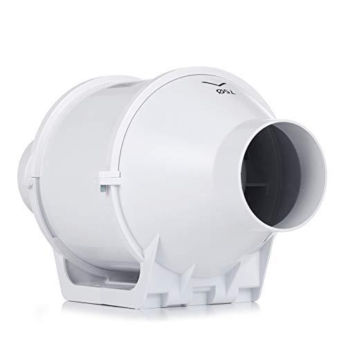 HG POWER 3 Inch Inline Duct Fan Booster Fan Plastic Waterproof Ventilation Pipe Exhaust Ceiling Bathroom Fan