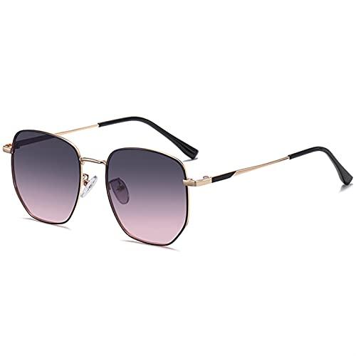 ZKP Gafas de sol de moda retro para mujer, gafas de sol redondas con protección UV 400, protección UVA/UVB (color: montura de oro negro, lente ceniza)