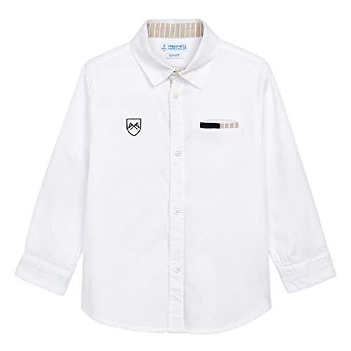 Mayoral Jungen Anzug-Hemd Langarm festlich Baumwolle Slim, Größe:128, Farbe:weiß