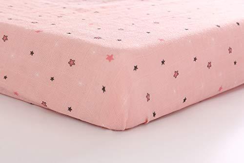 100% Baumwolle Musselin Spannbetttuch Kinderbett 70x130 cm für Baby-Jungen & Mädchen - Weich Sleeper Blatt Kinder Spannbettlaken für Babymatratze Betten Einzelbett (Rosa Stern)