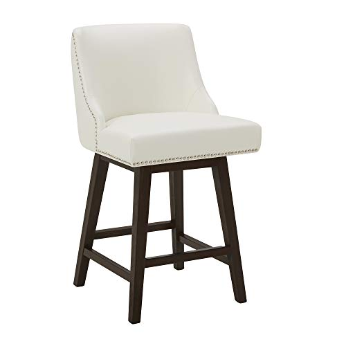 """CHITA Counter Height Swivel Barstool, Upholstered Faux Leather Stool, 26"""" Counter Height, Solid White"""