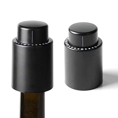 IWILCS 2pcs Tapón de Botella de Vino al Vacío, Tapón de Vino Reutilizable, Bomba de Vacío Tapón de Vino, con Escala de Tiempo, Tapones para Vino que se Mantienen Frescos