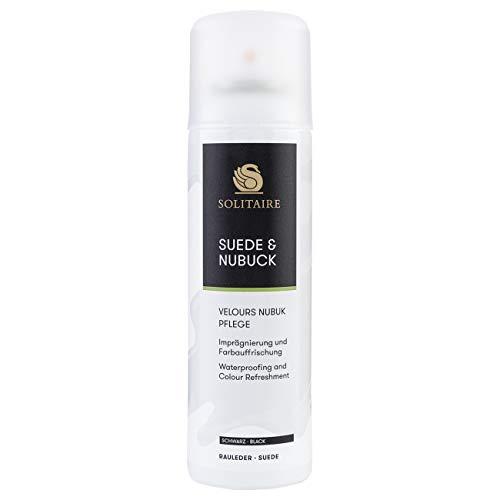 Solitaire Velours Nubukpflege Spray 200 ml Farbauffrischung und Imprägnierung für alle Rauleder (Velours-, Nubuk- und Wildleder) sowie Textilien Farbe schwarz
