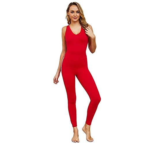 AKSE Pantalones de Yoga Sexy, Mono de Fitness de Yoga, Hip Hip Ejercicio Pantalones de Incienso, Pantalones de Baile Mujeres Red-L