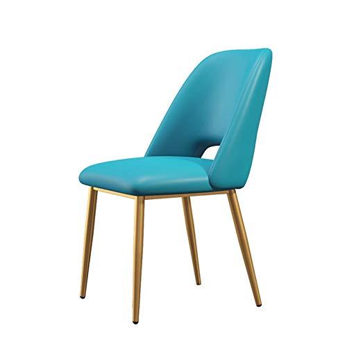 Sillas de comedor Silla de cocina moderna de tela con asiento tapizado y respaldo acolchado Sillones para recepción, sala de estar (color azul claro)