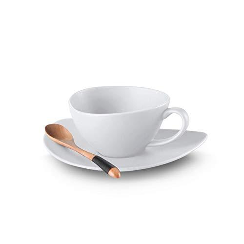 Juego de tazas de agua de 200 ml de cerámica de color puro, taza de café y platillo, taza de té de porcelana, taza de café con cuchara de madera para fiestas (color M04 blanco)