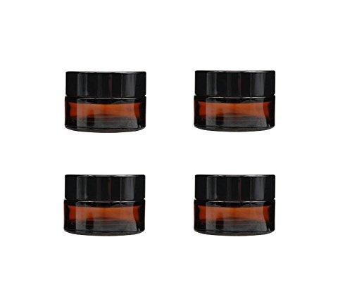 Lot de 4 flacons en verre marron avec bouchon à vis et doublure pour crème, maquillage, lotion, Verre, marron, 20 g