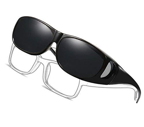 LEDING&BEST Gafas de sol deportivas polarizadas UV400,Gafas de Sol Para Colocar Sobre las Gafas Normales y de Lectura Hombre Mujer (black color)