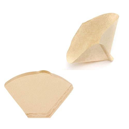 100 Stück Kaffeefilter Papier Kegel Kaffeefilter Naturbraun Original-Papierfilter Premium Ungebleicht Cone Coffee Paper Blatt Einwegkaffeefilter für Filterkaffeemaschinen Holzfarbe
