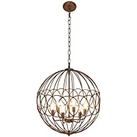 DecMode Traditional 6 Bulb Chandelier Metal Copper