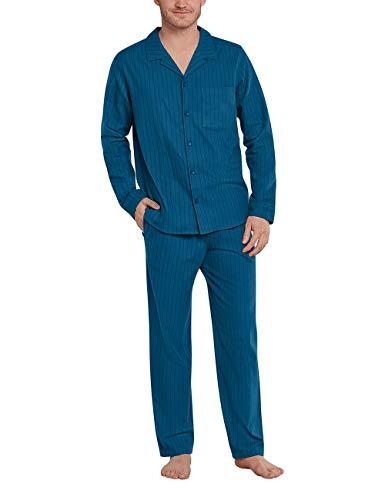 Schiesser Herren Pyjama lang Pyjamaset, Nachtblau, 54
