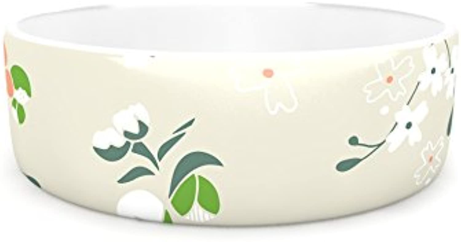 Kess InHouse Very Sarie Early Waking  Green Floral Pet Bowl, 4.75