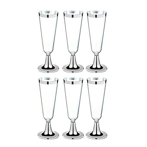 Ersanc 6 unids/Set desechable Vino Rojo Vidrio de plástico Champagne Flautas Gafas cóctel Copa de Boda Festivos Suministros barbería Bebida Taza 150ml Fiesta de Vacaciones Suministros decoración