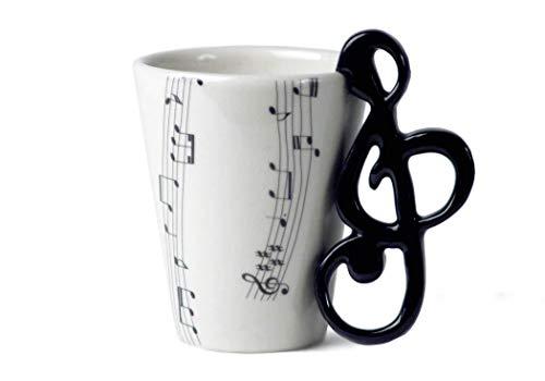 Chiave Di Violino Tazza Da Caffè Ceramica Realizzata a mano 8 Oz (23,6 cl) Colore Nero (10cm x 8cm)
