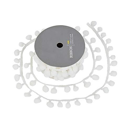 PandaHall Pompones blancos de 4,5 m, con flecos, lazos, para manualidades y manualidades, accesorio de costura, 3/16 pulgadas de ancho
