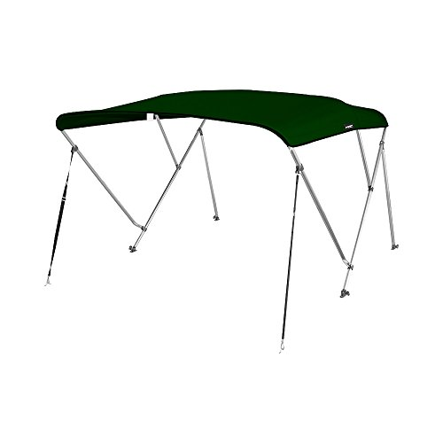 MSC 3 Bow Bimini Boat Top Cover with Rear Support Pole and Storage Boot, Color Grey, Pacific Blue, Burgundy,Navy,Beige,Forest Green Available (Forest Green, 3 Bow 6'L x 46' H x 61'-66' W)