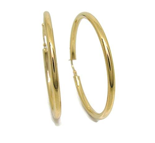 Orecchini cerchio in oro giallo 18 ktes di 3 mm di larghezza: 4.5 cm di diametro esterno