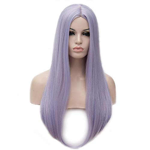 BERON 25 inches Silky Long Straight Wig Charming Women Girls Straight Wigs for Cosplay Party or Daily Use Wig Cap Included (Lilac)