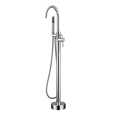 Artiqua Freestanding Tub Filler Bathtub Faucet Chrome Single Handle Floor Mounted Faucets with Handheld Shower