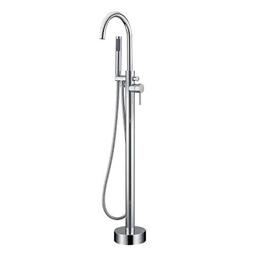 Artiqua Freestanding Tub Filler Bathtub Faucet Chrome Single Handle Floor Mounted Faucets with Handheld Shower