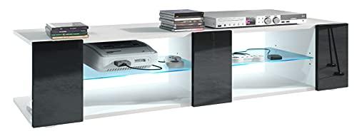 Mesa para TV Lowboard Movie V2, Cuerpo en Blanco Mate/Frentes en Negro de Alto Brillo con iluminación LED en Azul