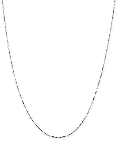14K Yellow or White 1.1mm Shiny Diamond Cut Rolo Chain Necklace for Pendants and Charms with Lobster-Claw Clasp (16