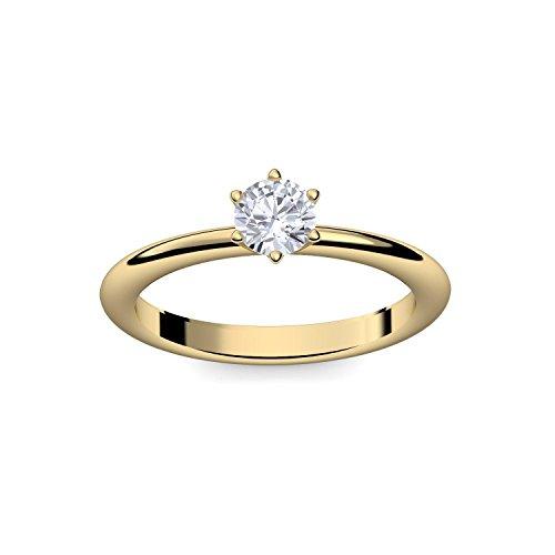 Verlobungsring Gold 585 Solitär Zirkonia + inkl. Luxusetui + - Verlobungsringe Gold Gelbgold 585 - Precious Amoonic Größe 58 (18.5) AM195 GG585ZIFA58