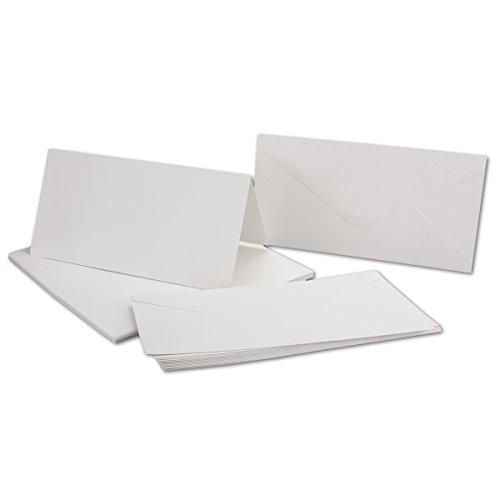 Karten Set inklusive Briefumschläge - 50er-Set - Blanko Einladungskarten in hochweiß - bedruckbare Post-Karten in DIN Lang - Faltkarten-Klappkarten - Gustav NEUSER C-Line