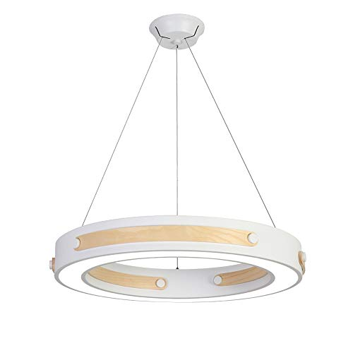 Ncloyn Moderne Led 36w Lampe Suspension, Rond Europe Du Nord Bois Massif Abat-jour Suspensions 28' Acrylique Créatif Lustre Suspension Restaurant Salon-70x70x7cm Lumière Blanche