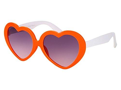 Alsino Alsino Mädchen Brille Herzbrille Kinder Sonnenbrille Viper Herzform, Variante wählen:K-93 orange weiß