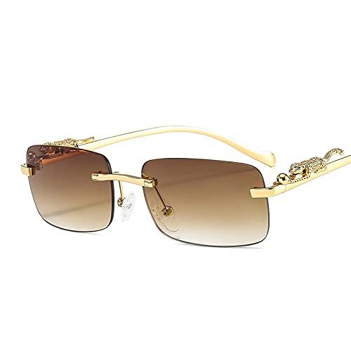 FENGHUAN Gafas de sol cuadradas retro para mujer, gafas de sol sinmontura rectangulares a la moda, gafas de sol sin marco para mujer, marrón