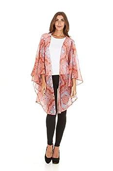 Laundry By Shelli Segal Women Loose Cold Shoulder Kaftan Kimono Cardigan Cape  Tangerine