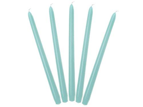 Lot de 10 bougies en cire Bleu ciel mat 29 cm