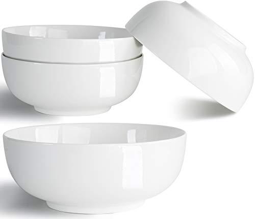 32 Ounce Large Soup Bowls, Salad Bowls, Cereal Bowls, Pasta Bowls, Pho Bowls, Chunni Durable Porcelain Off White Bowls Set of 4, 7 Inch