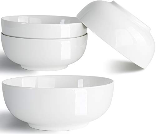 32 Ounce Large Soup Bowls, Salad Bowls, Cereal Bowls, Pasta Bowls, Pho Bowls, Chunni Durable Porcelain Off White Bowls Set of 4, 7 Inch