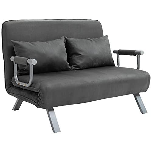 HOMCOM 2-Sitzer Schlafsofa mit Armlehne 3-in-1 Schlafsessel Gästebett Klappmatratze Klappbett Chaiselongue Multifunktion Wildlederimitat Grau 105 x 80 x 78 cm