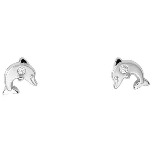 Basic oro orecchini KI16 per bambini orecchini da donna 14 carati (585) Delfin Oro bianco bambino drachensilber bianco zirconi