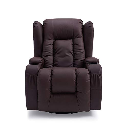 Storeinuk Bonded Leather Recliner Armchair Sofa Home Lounge Gaming Cinema Chair 360 Degree Swivel Rocking Heated with Drink Holders (Brown)