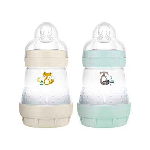 MAM Easy Start Anti-Colic Elements Babyflasche im 2er-Set (160 ml), Milchflasche für die Kombination mit dem Stillen, Baby Trinkflasche mit Bodenventil gegen Koliken, 0+ Monate, Fuchs/Waschbär