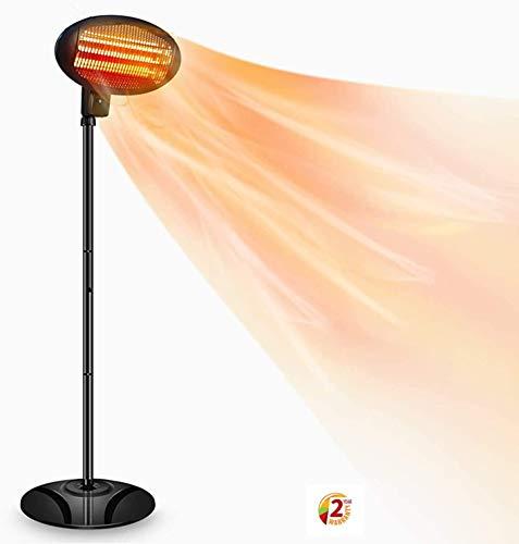 SOARRUCY Electric Patio Heater Outdoor Heater- 1500W Indoor Heater, Halogen Patio Heater, 3 Power Level Outdoor Infrared Waterproof Heater W/Overheat Protection (Black)