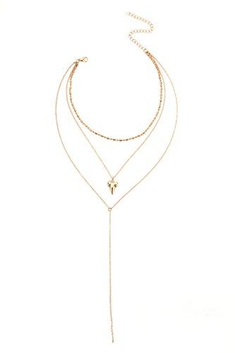 AnazoZ Collar Colgante Chapado en Oro Collares Mujer Multiples Caps Dientes de Tiburón Cadena Multicapas Collar de Mujer Oro