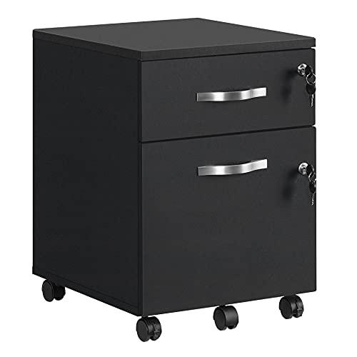 VASAGLE Rollcontainer, abschließbar, Aktenschrank mit 2 Schubladen, 5 Rollen & Verstellbarer Hängeregistratur, für Dokumente im A4- & Letter-Format, Home Office, schwarz LCD22BV1