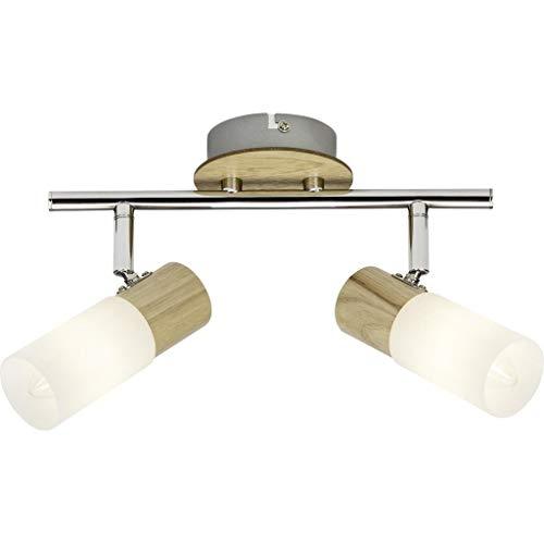 Brilliant Babsan 51413/50 plafondlamp met 2 lampen, metaal/hout/kunststof, E14, 3,5 W, licht/wit