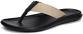 Men's Antiskid Flip-flops England Tide Leisure Summer Cool Slippers Beach Outdoor Sandals Indoor Home Slides (Color : Apricot 8336, Shoe Size : 39)