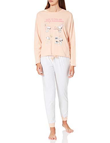 Women' Secret Pijama Largo algodón Snoopy, Naranja, S para Mujer