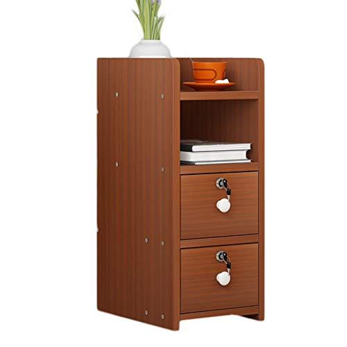 WHLONG Dormitorio Filete Mini Asamblea hogar Mesilla de Noche Bloqueo Caja de Almacenamiento pequeño y Ultra Estrecha Estudio de Noche Locker (Color : Red Walnut, Size : 38X32X60cm)