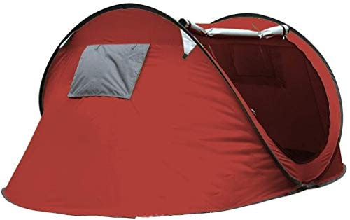 LAZ Tent Boat Type, Outdoor Camping Tents Waterproof, Fully Automatic Quick Opening Pop-Up Tents, Folding Tunnel Tents 3-4 People, Simple Camping Beach Tent (Color : Red, Size : 240 * 180 * 100 CM)