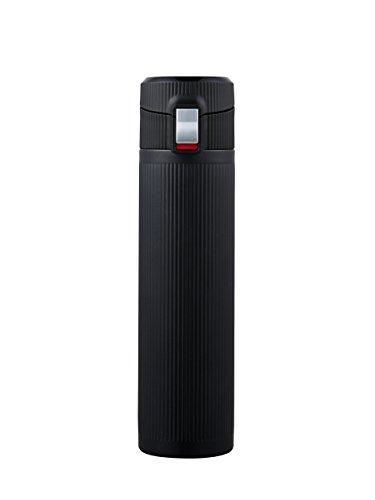 Lock & Lock TITAN VACUUM BOTTLE Drinkfles van roestvrij staal - Thermobeker om mee te nemen - vacuüm isolatiefles voor koffie, thee en koude, 330 ml zwart