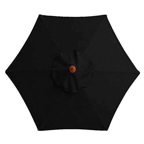 Atrusu Toldo de repuesto para sombrilla de patio, para exteriores, con 6 varillas (solo toldo), color negro