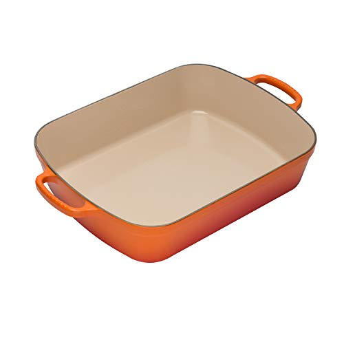"Le Creuset Enameled Cast Iron Signature Rectangular Roaster, 5.25 qt. (11.7"" x 16.8"") , Flame"